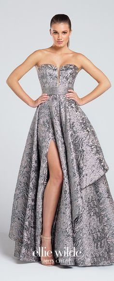 Prom Dresses 2017 - Ellie Wilde for Mon Cheri - platinum strapless metallic jacquard prom dress - Style No. EW117040