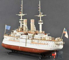 Märklin Tin-Ships Steam battleship BALTIMORE series II live boat hand painte 04