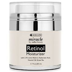 Retinol Moisturizer Cream for Face - With Retinol, Hyaluronic Acid, Tea Tree Oil and Jojoba Oil. Best Night and Day Moisturizing Cream 1.7 Fl. Oz.