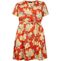 New Look Curves Red Floral Print Wrap Dress ($9.26) ❤ liked on Polyvore featuring dresses, red pattern, floral dresses, floral-print dresses, red dress, pattern dress and floral printed dress