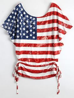 Batwing Sleeve American Flag Patriotic T-Shirt