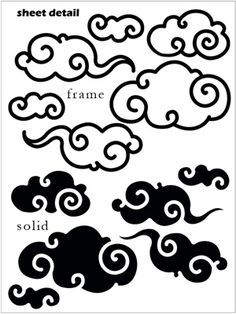 One of our many new asian inspired wall decals stickers, these curly Cloud wall decals stickers are sure to add intrigue and whimsy to any decor. Choose from solid or frame version of cloud wall decals stickers. Chinese Patterns, Japanese Patterns, Japanese Art, Japanese Cloud Tattoo, Japanese Tattoos, Chinese Paper Cutting, Graffiti Lettering Fonts, Cloud Drawing, Asian Tattoos