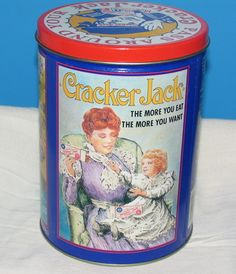 Cracker Jack popcorn vintage 1992 confection canister with lid. Vintage Canisters, Vintage Tins, Jack B, Cracker Jacks, Tin Containers, Vintage Candy, Tin Boxes, Tin Signs, Vintage Advertisements