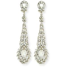 Jose & Maria Barrera Victorian-Style Crystal Drop Earrings ($360) ❤ liked on Polyvore featuring jewelry, earrings, silver, crystal jewelry, earring jewelry, victorian jewellery, victorian earrings and drop earrings