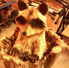 Chainsaw Carving of Peeking Raccoon - in the making 3
