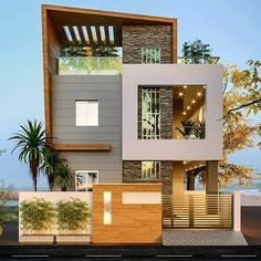 Exterior Wall Design, Modern Exterior House Designs, Latest House Designs, Dream House Exterior, Modern House Design, Modern Houses, House Main Gates Design, Door Gate Design, Duplex House Design