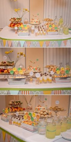 cute as a button baby shower. Great unisex colors just in case you haven't revealed the gender yet.