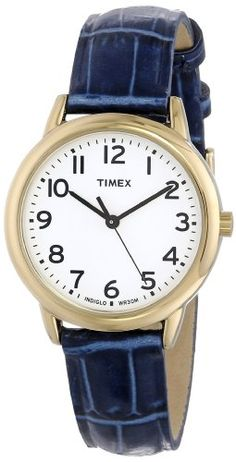 Timex Women's T2N954 Elevated Classics Dress Gold-Tone Case Blue Croco Leather Strap Watch #Timex