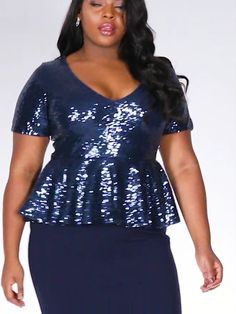 Buy Curve Navy Sequin Peplum Maxi Dress online now from Quiz. Sexy Dresses, Evening Dresses, Short Dresses, Curvy Women Fashion, Plus Size Fashion, Dresses To Wear To A Wedding, Bodysuit Fashion, African Fashion Dresses, Dressy Outfits
