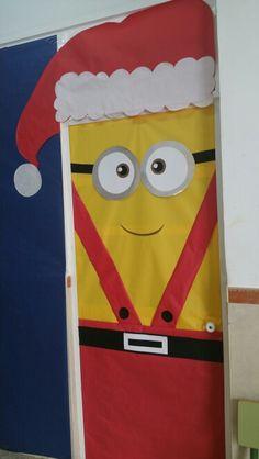 Puerta minion navidad papa noel DOOR CLASROOM CHRISTMAST MINION SANTA CLAUS