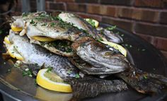 whole grilled trout recipe, with herbs and lemon. going to do this on my George foreman I think whole grilled trout recipe, with herbs and lemon. going to do this on my George foreman I think Recipe For Fresh Trout, Whole Trout Recipes, Grilled Trout Recipes, Seafood Dishes, Fish And Seafood, Seafood Recipes, Baked Whole Fish, Summer Barbeque, Baked Garlic