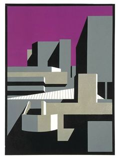 Southbank Magenta a greetings card reproduced from a linocut by Paul Catherall Illustrations, Illustration Art, Minimal Art, A Level Art, Abstract Shapes, Linocut Prints, Making Ideas, Printmaking, Street Art