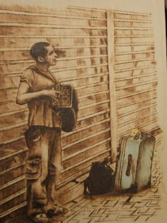 The accordionist...Pyrography on plywood.