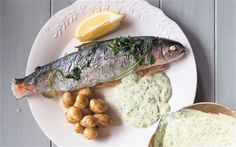 Baked Rainbow trout with spinach sauce, Ballymaloe Cookery School - Telegraph Sauce Recipes, Seafood Recipes, Summer Lunch Recipes, Ballymaloe Cookery School, Light Fest, Summer Dishes, Rainbow Trout, London Food, Spinach