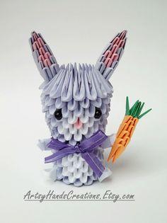 3d Origami Miniature Bunny 3d Origami door ArtsyHandsCreations