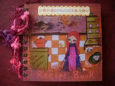 The Kitchen Lover - art illustrated,spiral bounded blank recipe book/cook book with ribbons made with love by a pink dreamer, $34.00