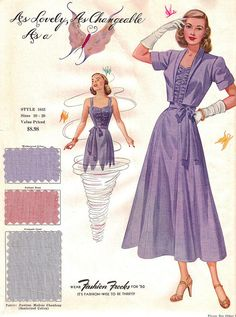 """Fashion Frocks """"As Lovely, As Changeable As ..."""" 1950    Sales sample card for Style 1633, from the 1950 collection."""