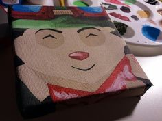 I spent the day painting this 4x4 canvas of Teemo from League of Legends!