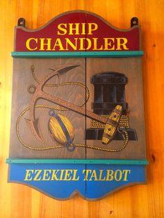 Vintage Ship Chandler Store Sign Ezekiel Talbot Yorkraft Nautical Maritime Bar