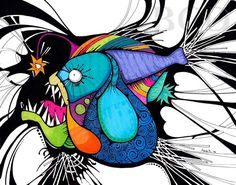 Fish in the Headlights  Angler Fish Deep Sea by BrookeConnorDesign, $20.00