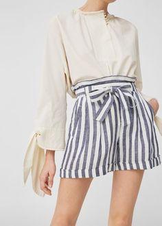 Linen-blend high-waist shorts | MANGO