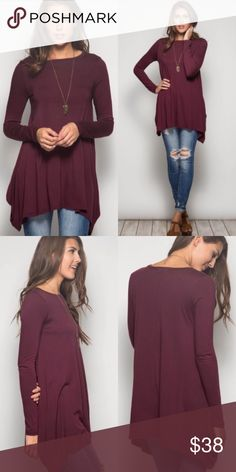 ❣️NEW IN❣️ Asymmetrical Loose Casual Essential Top Beautiful color and perfect for these seasons! Pair it with a plum colored lipstick and Skinnies and a scarf/vest and you're set! Brand new! Sizes S M L and runs true to women's sizing. Tops Blouses
