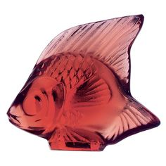 Lalique Fish Figure Golden Red