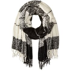 David & Young Women's Large Scale Blanket Wrap with Fringe featuring polyvore, fashion, accessories, scarves, plaid wraps shawls, tartan plaid scarves, wrap scarves, plaid shawl and tartan plaid shawl