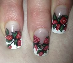 Hand painted Roses French manicure nail art - inspired by robin moses