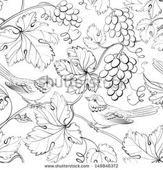 Bird and grape, seamless pattern. Vector illustration.