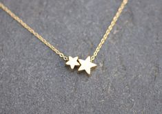 Stars Necklace - gold necklace chain with two gold star charms, dainty necklace, everyday necklace on Etsy, Sold