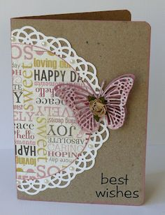 SU! doily, patterned paper & butterfly die cut
