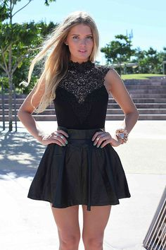 Lace bodysuit and skater skirt