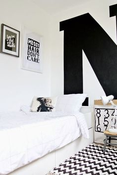 Black And White Bedroom Ideas A password will be e-mailed to you.Cool Black And White Bedroom IdeasSuper Cool Monotone Color with 2 main color scheme ; Black and White. Teen Girl Bedrooms, Kids Bedroom, Bedroom Ideas, Bedroom Decor, Little Boys Rooms, Kids Rooms, Room Kids, White Kids Room, White Rooms