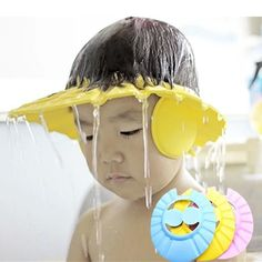 Adjustable Baby Shampoo Bath Shower Hat Waterproof Cap Wash Hair with Ear Cover