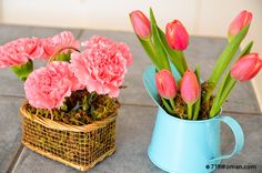 Quick, Easy & Cheap Last Minute Flower Arrangement or Send Home/Hostess Gift