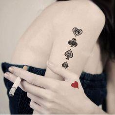 Love this card tattoo! Heart club spade diamond