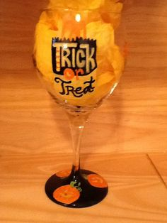 Trick or Treat Hand Painted Wine Glass by brandiedmonds on Etsy, $25.00