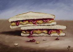 PB&J Sandwich, J Palmer Daily painting Original Oil still life Art