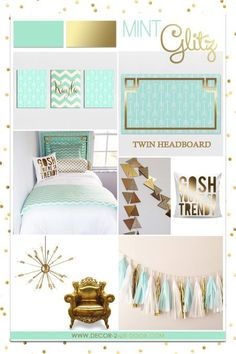 Mint and Gold Sorority and Dorm Room Bedding and Decor. Designer headboard, custom pillows, exclusive bed scarf, window panels, wall art, bed skirts, duvet (twin, queen, king) and custom monogramming!! Turn your room from drab to fab…