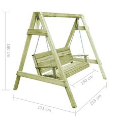 vidaXL Garden Swing Chair FSC Impregnated Pinewood Outdoor Seat for sale online Porch Swing Frame, Diy Swing, Wood Swing, Diy Furniture Plans Wood Projects, Types Of Furniture, Woodworking Projects Diy, Diy Projects, Woodworking Classes, Woodworking Bench