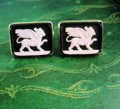 Large cameo Griffin Cufflinks Vintage Winged Lion Guardian Gothic Medieval Mythical cameo Men's Beast Clothing mythology Accessory. $110.00