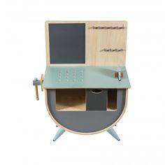 sebra Werkbank aus Holz, blau