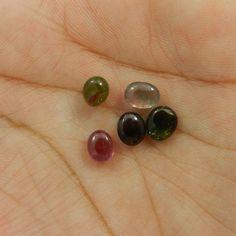 5.00CT 5PC LOT NATURAL MULTI TOURMALINE 5X6MM UNEVEN CAB SILVER JEWELRY GEMSTONE #Shining_Gems #Tourmaline #Gemstone #GemstoneJewelry #OvalCab #Stone