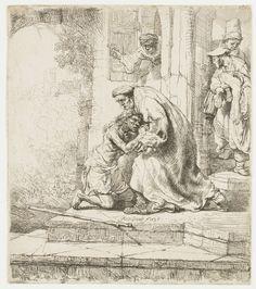 Rembrandt Harmensz. van Rijn   De thuiskomst van de verloren zoon, Rembrandt Harmensz. van Rijn, 1636   De terugkeer van de verloren zoon: hij knielt voor zijn vader op het bordes van zijn ouderlijk huis. In de deuropening twee figuren, een derde kijkt uit het venster.