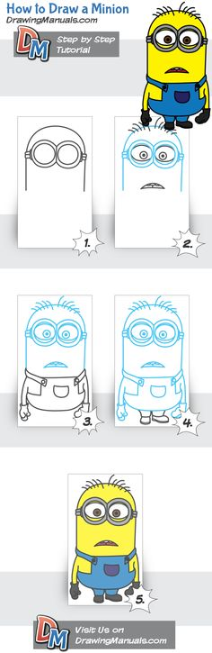 How to Draw a Minion http://drawingmanuals.com/manual/how-to-draw-a-minion/