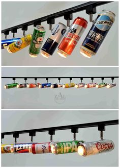 Beer can Track lighting fixture. 10 Track lights with 8 track. Aluminum beer can. - Ideen - Beer can Track lighting fixture. 10 Track lights with 8 track. Aluminum beer can Spot light - Track Lighting Fixtures, Kitchen Lighting, Industrial Light Fixtures, Bathroom Lighting, Man Cave Home Bar, Man Cave Room, Bars For Home, Aluminium, Lighting Design