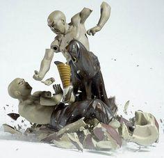 Fighting Porcelain Figurines Shattering