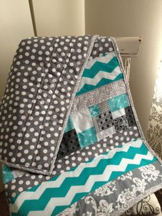 Blue and grey striped quilt by Nooches on Etsy, $80.00