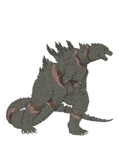 Sliced Godzilla illustration by French illustrator and designer Alexandre Godreau.